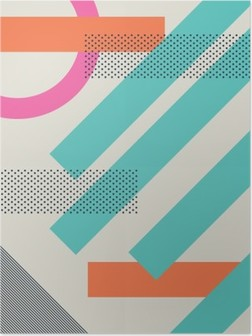 Poster Abstracte retro jaren '80 achtergrond met geometrische vormen en patronen. Ontwerp van het materiaal behang.