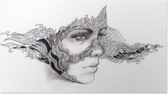 Poster Abstracte vrouw gezicht