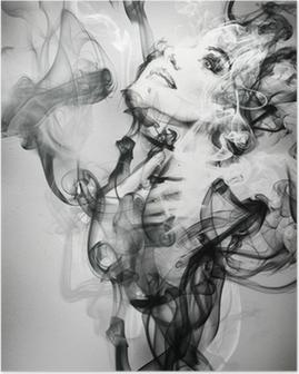 Poster Abstracte vrouw portret. aquarel illustratie