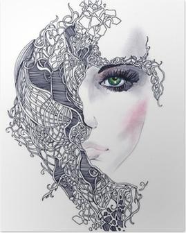Poster Abstrakt kvinna ansikte