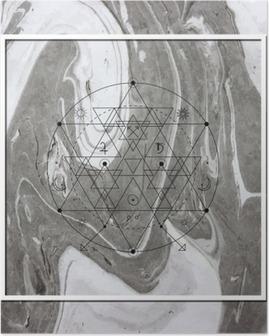 Poster Abstrakt mystisk geometri, linjär alkemi, ockult, filosofiska tecken.