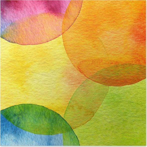 Poster Abstrakt vattenfärg cirkel målad bakgrund - Teman
