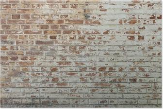Poster Achtergrond van oude vintage vuile bakstenen muur met peeling gips