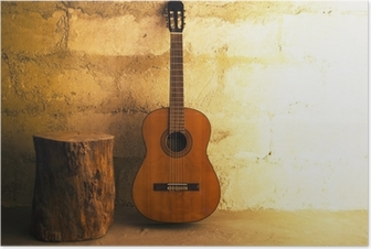 Acoustic guitar on old wall - copyspace Poster