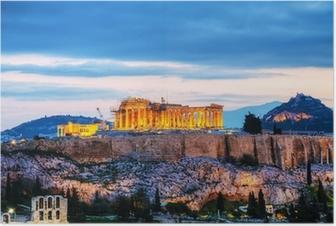 Póster Acrópolis en la noche después de la puesta del sol