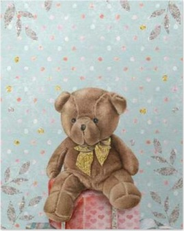 Póster Acuarela linda del oso de peluche con cajas de regalo