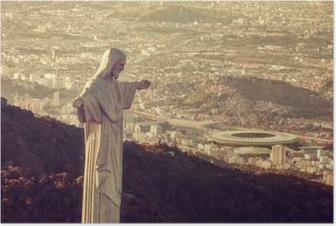 Aerial view of Christ Statue looking at Maracana Stadium Poster