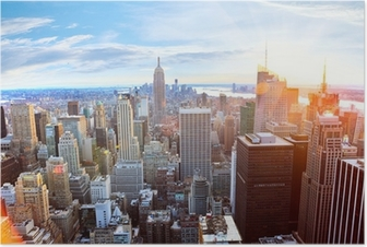 Aerial view of Manhattan skyline at sunset, New York City Poster