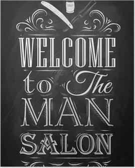 Poster Affiche Barbershop bienvenue à l'homme salon dans un style rétro et