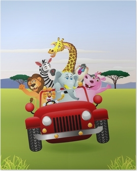 African Animals In Red Car Poster