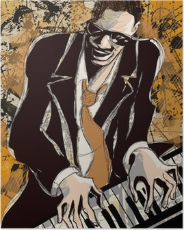 Poster Afro pianiste de jazz américain