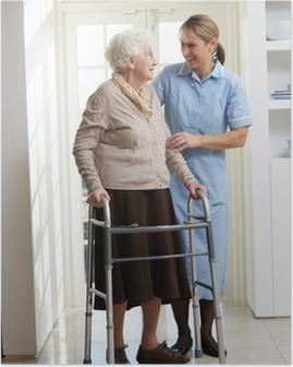 Poster Aider les soignants femme âgée senior Utilisation déambulateur