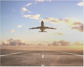 airplane on runway Poster