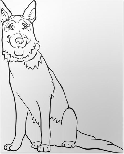 Póster Alemán historieta del perro pastor para colorear • Pixers ...