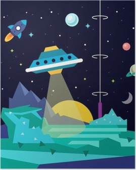 Alien space planet landscape with ufo Poster