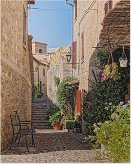 Poster Allée avec des fleurs d'une petite ville en Ombrie, Italie