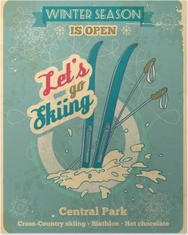 Poster Allons ski rétro affiche