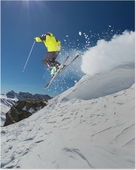 Alpine skier jumping from hill Poster