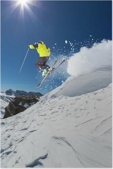 Poster Alpine skiër springen van heuvel