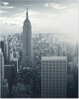 Amazing view to New York Manhattan at sunset Poster