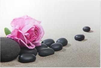 Ambiance zen - rose et pierres noires Poster