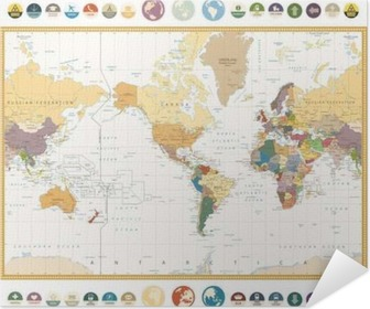 World map actual new version with south sudan poster pixers america centered world map with flat icons and globesntage colors poster gumiabroncs Images