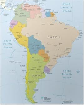 Póster América del Sur-altamente map.Layers detallados utilizados.