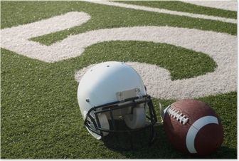 Poster American football apparatuur op het veld