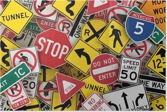 Poster Amerikaanse verkeersborden