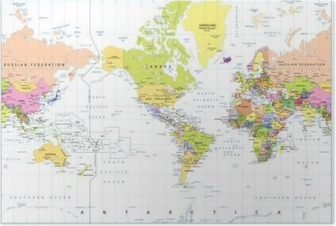 Poster Amérique Centré politique Carte du monde isolé sur blanc
