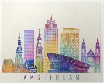 06ef1058cd99 Amsterdam landmarks watercolor poster Poster