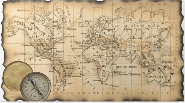 poster ancienne carte du monde boussole pixers nous vivons pour changer. Black Bedroom Furniture Sets. Home Design Ideas