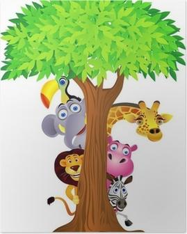 Animal hiding behind tree Poster