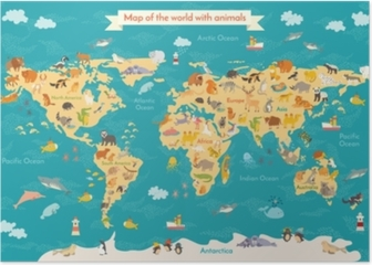 Animals world map. Beautiful cheerful colorful vector illustration on world maps online, beers of the world poster, russia poster, world clock poster, solar system poster, turkey poster, animals poster, online poster, travel poster, water poster, world geography poster, world record poster, cheeses of the world poster, the world is our classroom poster, parrots of the world poster, world history posters, abc's of culture poster, world globe, world wide otaku day,