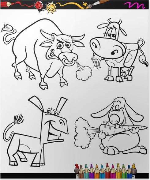 Póster Animales de granja conjunto de dibujos animados de libro para ...