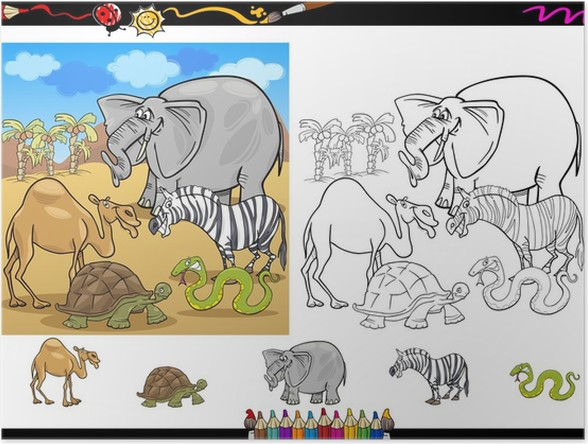 Póster Animales de safari para colorear juego página • Pixers ...