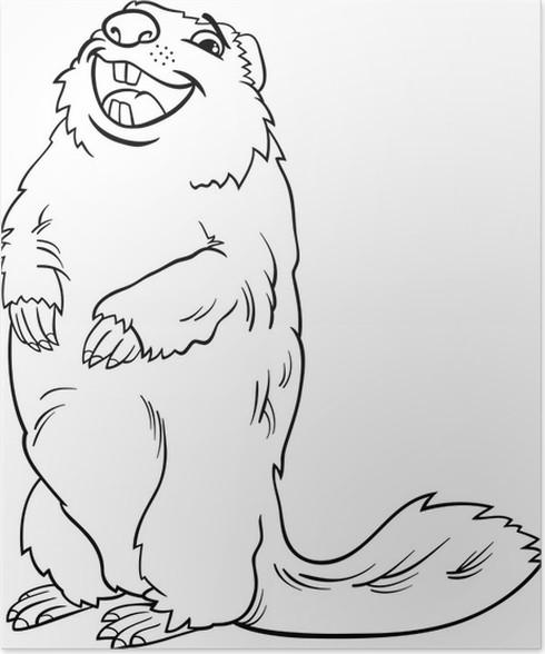 Póster Animales marmota de dibujos animados de libro para colorear ...
