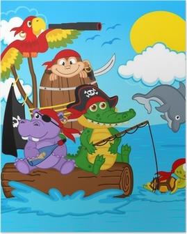 Póster Animales piratas - ilustración vectorial, eps
