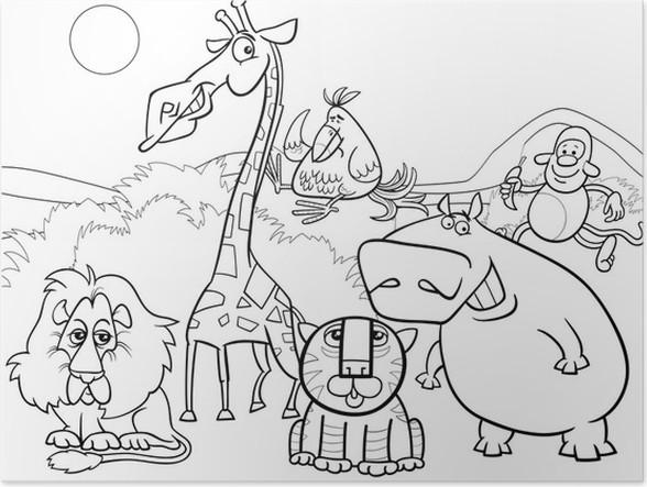 Póster Animales salvajes para colorear página del grupo • Pixers ...