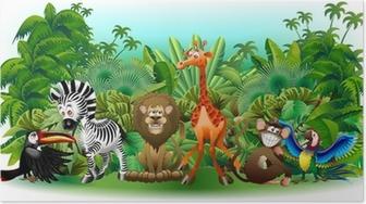 Poster Animali Selvaggi Cartoon Giungla-Animaux sauvages Background-vectorielle
