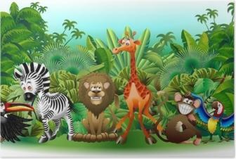 Animali Selvaggi Cartoon Giungla-Wild Animals Background-Vector Poster