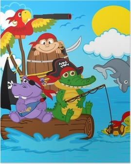 animals pirates - vector illustration, eps Poster