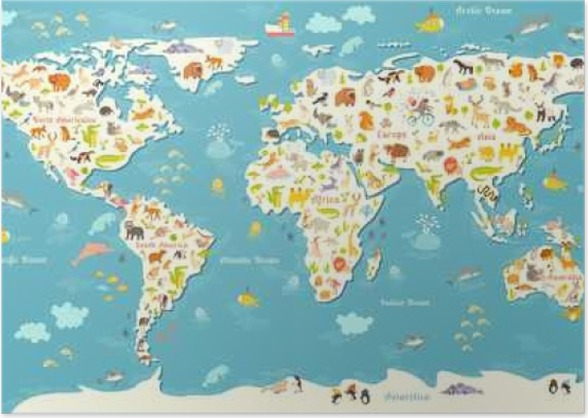 Animals world map beautiful cheerful colorful vector illustration with the inscription of the oceans and continents preschool baby continents oceans drawn earth poster animals world map gumiabroncs Image collections