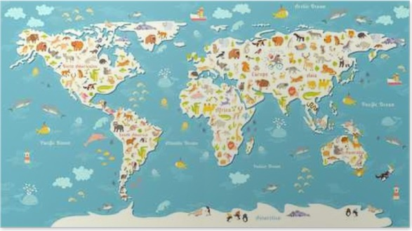 Animals World Map Beautiful Cheerful Colorful Vector Illustration For Children And Kids With The