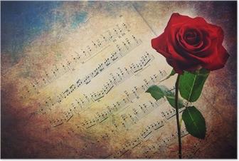 Poster Antieke muzikale score met rode roos