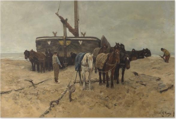 Poster Anton Mauve - Bateau de pêche sur la plage - Reproductions