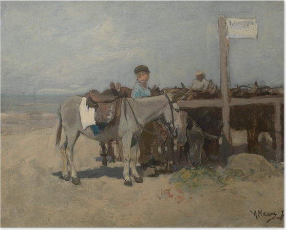 Anton Mauve - Donkey Stand on the Beach at Scheveningen Poster - Reproductions