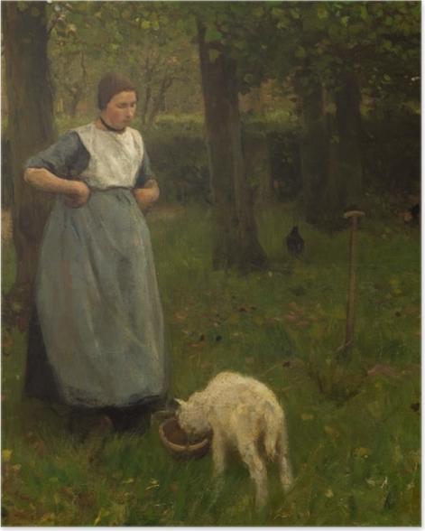 Poster Anton Mauve - Femme de Laren avec Agneau - Reproductions
