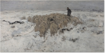 Anton Mauve - Flock of Sheep with Shepherd in the Snow Poster