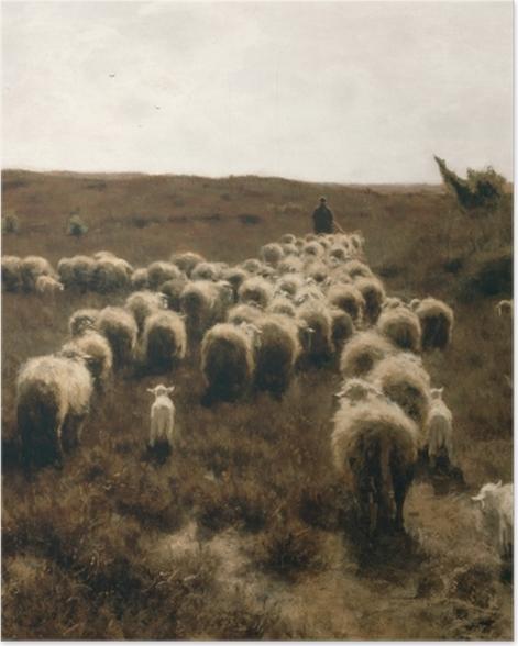 Poster Anton Mauve - Le retour du troupeau, Laren - Reproductions